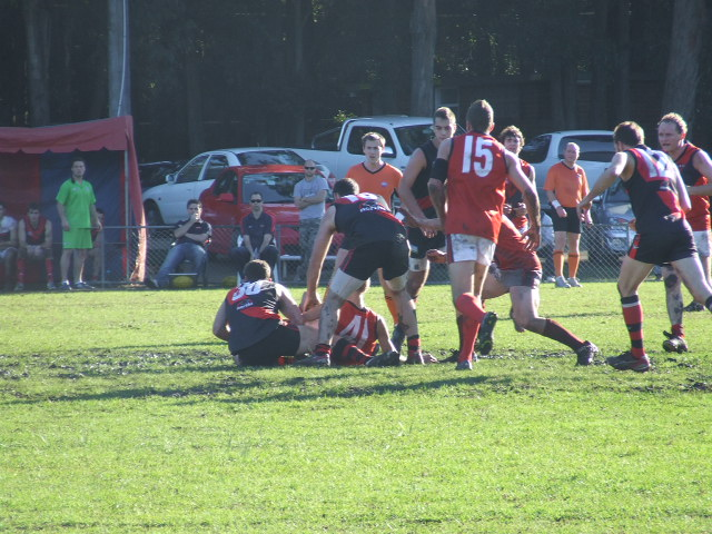 Matt Carey is tackled