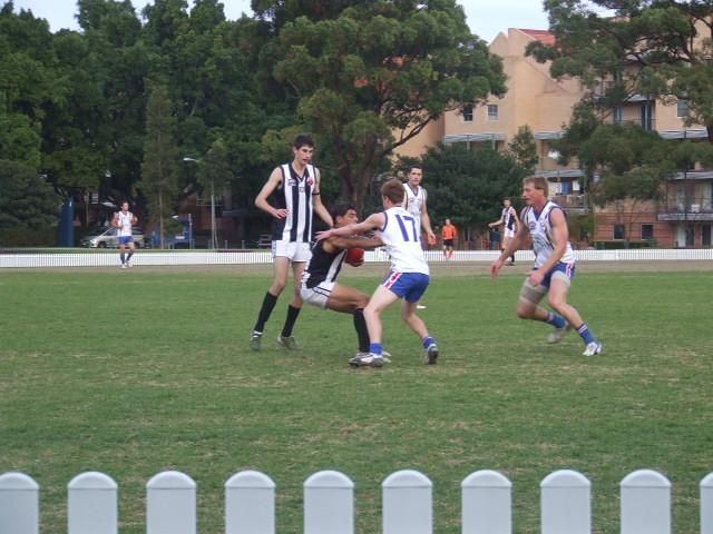 Samuel Rutland lays a tackle