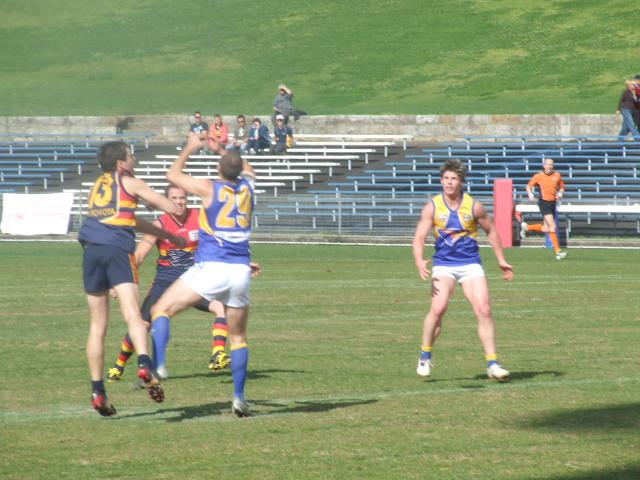 East Coast's Rowan Bilkey takes a defensive mark