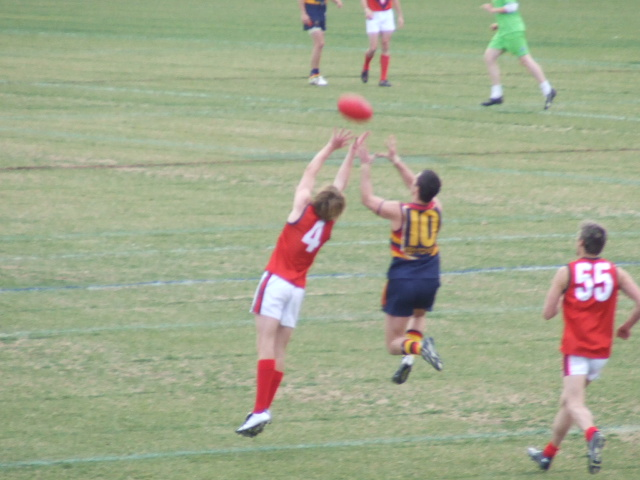 Mitch Aitken in front in a marking contest